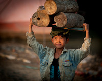 Kid Hauling Wood